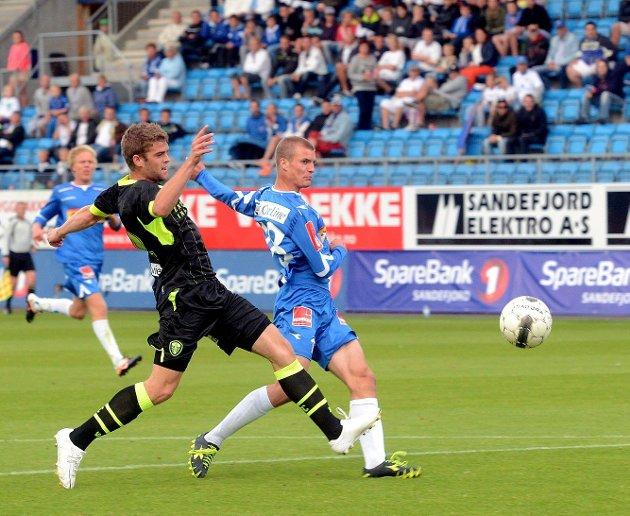 Kristian Tande Klepaker utliknet for SF og fastsatte sluttresultatet mot Leeds til 1–1 på Komplett.no Arena onsdag. Foto: Olaf Akselsen