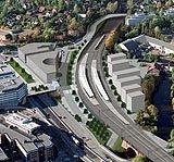 Slik vil Lysaker stasjon se ut og herfra bygges strekningen mot Sandvika. (Ill: Jernbaneverket)