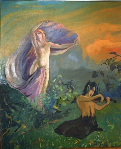 Man ser her en kvinnedrøm i skogen mens satyren bedriver felespill for henne. Hun er med på leken slik kvinner skal være i en manns drøm.