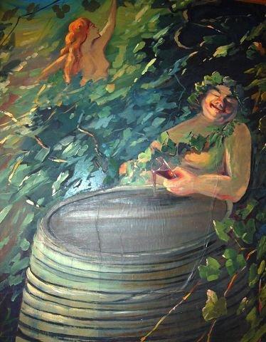 """Her sitter Bacchus sjøl salig full og fornøyd ved vintønna. Hans tanker går som maleren viser til vakre kvinner. """"Piger vin og sang"""" Har vel et opphav?"""