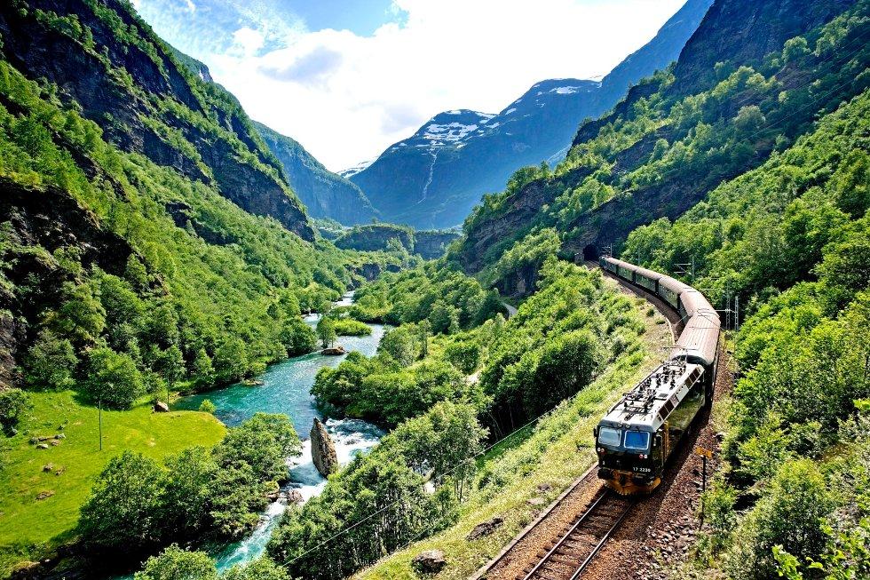 Jernbanestrekningen på 20 kilometer starter på Myrdal, en stasjon på Bergensbanen, og ender nede i tettstedet Flåm. Over 500.000 reisende tok dette toget i fjor. 90 prosent av dem var utenlandske turister.