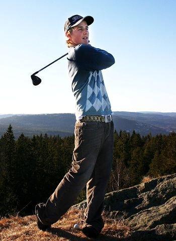 SLAGFERDIG UNG MANN: Marius Thorp, Bærum golfklubb, europamester for amatører 2005 og juniorverdensmester 2006. Foto: Joakim H. Johansen