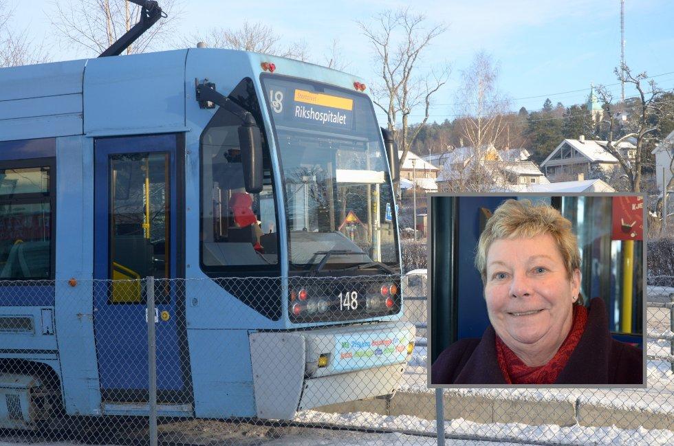 Det er ikke alle holdeplasser i Oslo som har billettautomater eller utsalgssteder. Kari Østhus må gå fra Kastellet til Sæter eller Holtet om hun vil kjøpe billett på forhånd.