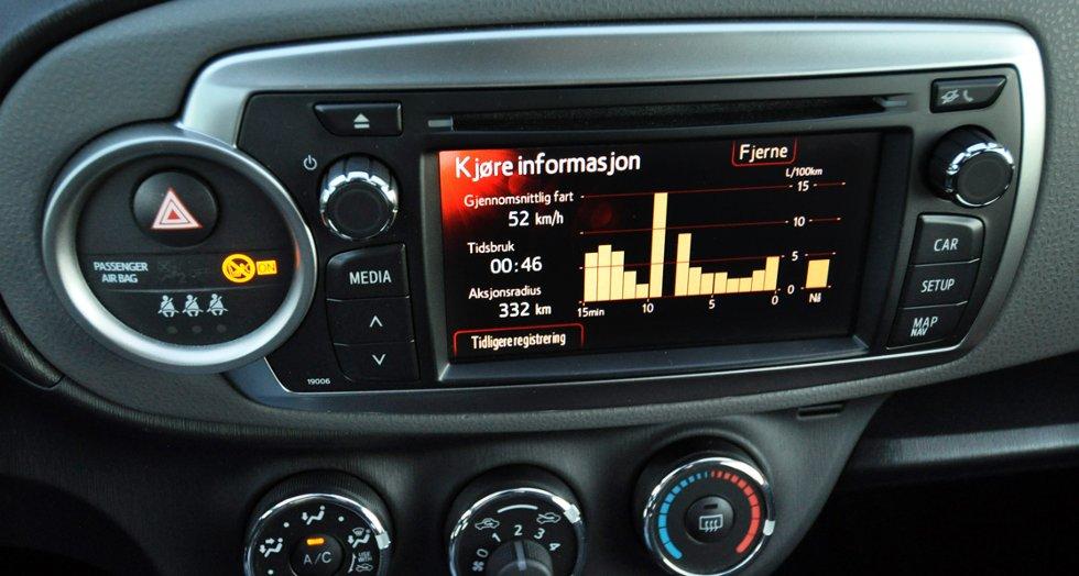 Navigasjons-/ryggekameraskjerm hvor gjennomsnittsforbruket også kan avleses hvert minutt.