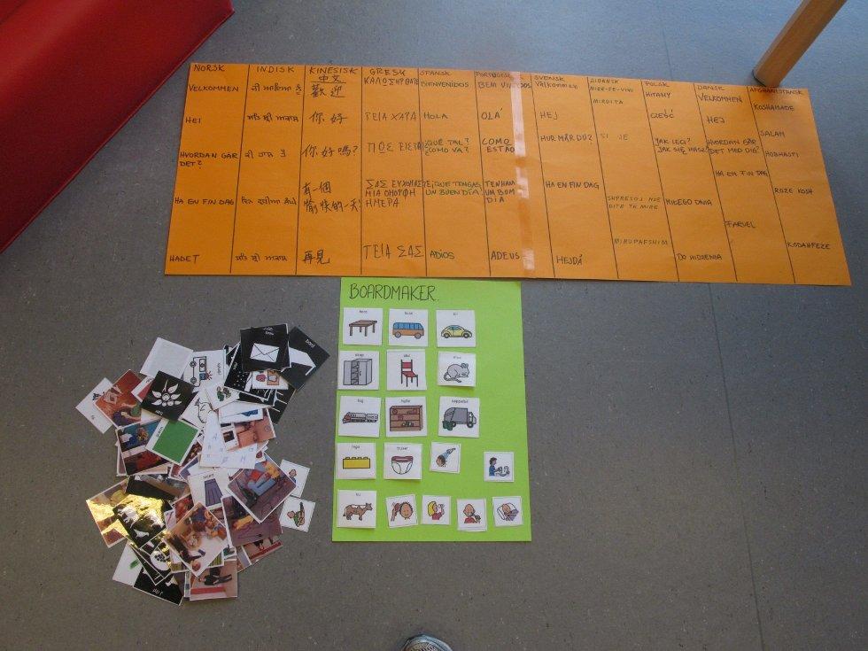 Barna i Hullebergmyra har til sammen syv ulike nasjonaliteter. I Språkrommet kan de lære med ord og bilder.