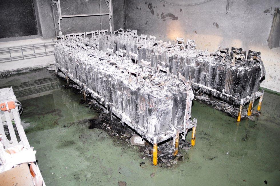 Batteriene etter brannen