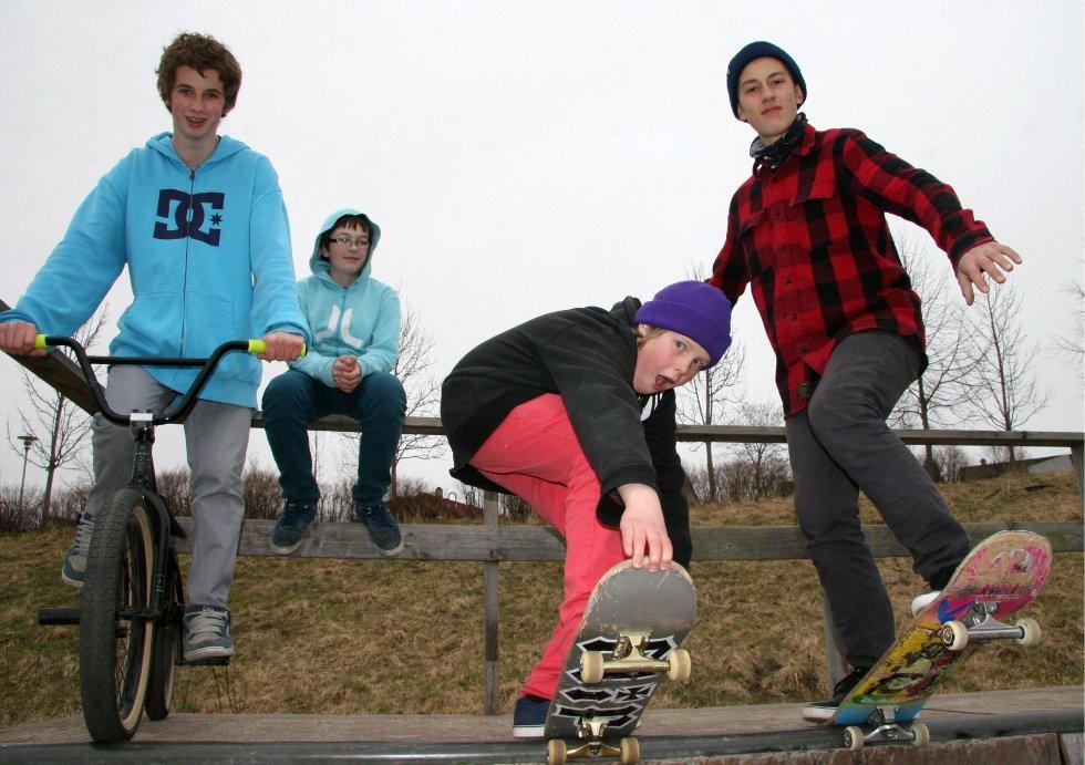 CASH: At skateanlegget trenger penger til oppussing, er gutta helt enige om, fra venstre Sander Berg (13) Kjelsås, bak Stian Sukkestad (13 Kjelsås, Lars August Lieng (13) Kjelsås og Daniel Larsen (13) Disen.