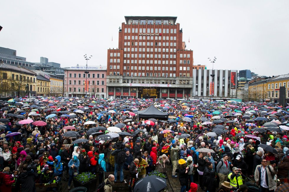Politiet anslo at 40.000 mennesker hadde møtt frem på dagens markering på Youngstorget.
