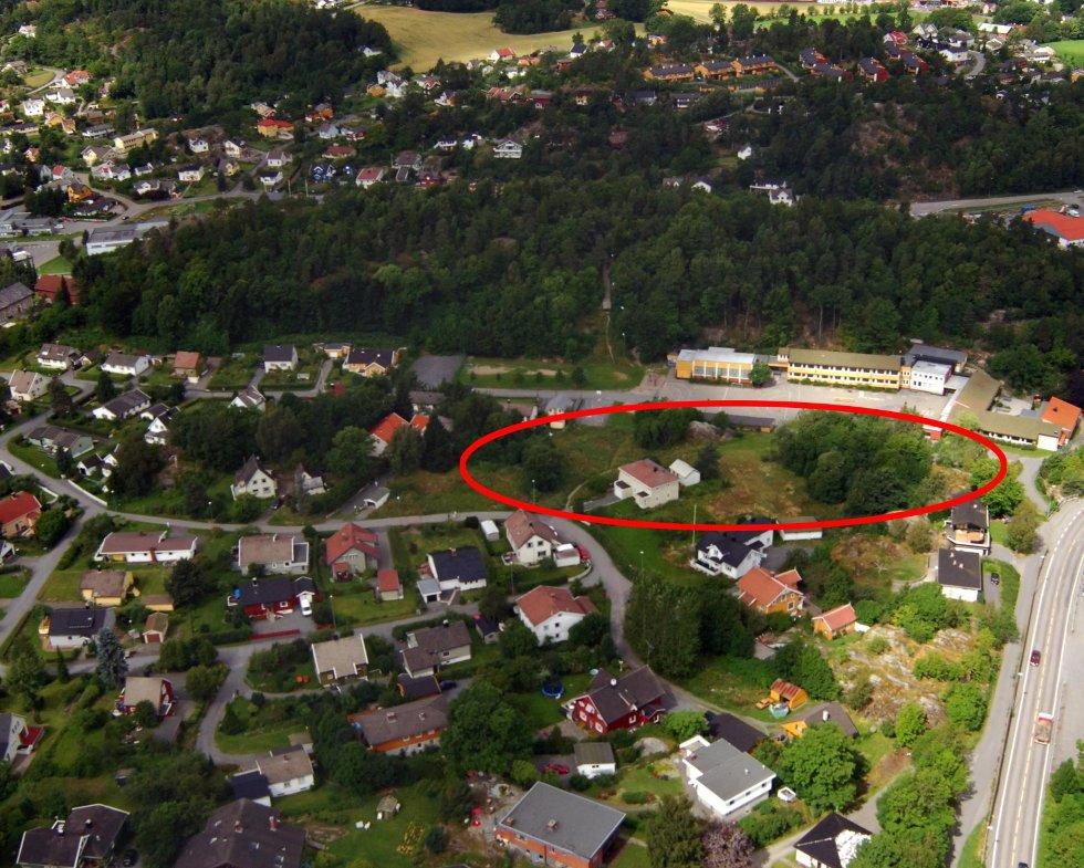 Utbyggingsområdet ligger rett sør for Gokstad skole. Østerøyveien i høyre bildekant.