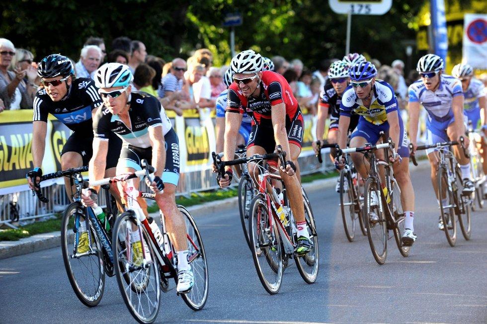 Edvald Boasson Hagen (f.v.), Stuart O'Grady og Jarle Fredriksen stilte til start i Sandefjord Grand Prix i fjor. Arkivfoto: Atle Møller<B></B>