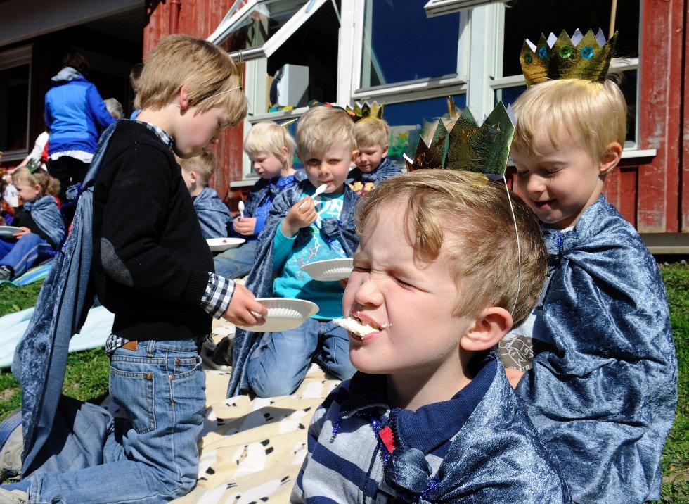Når Sonja og Harald kommer til Andebu 20. juni, skal de vite at de treffer likesinnede. Slottskake og kongelig marengsbunn smaker godt for alle, særlig for konger. Nærmest er H.K.H. kong Joakim Tveitan.