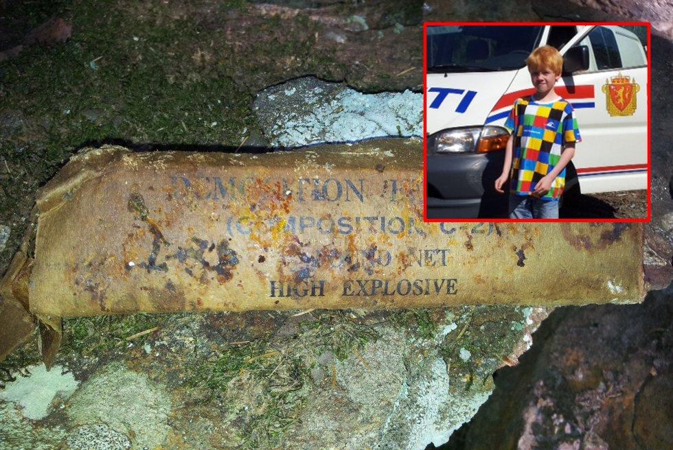 Mathias Alexander Hagren (8) fant sprengstoff i skogen i Våler.