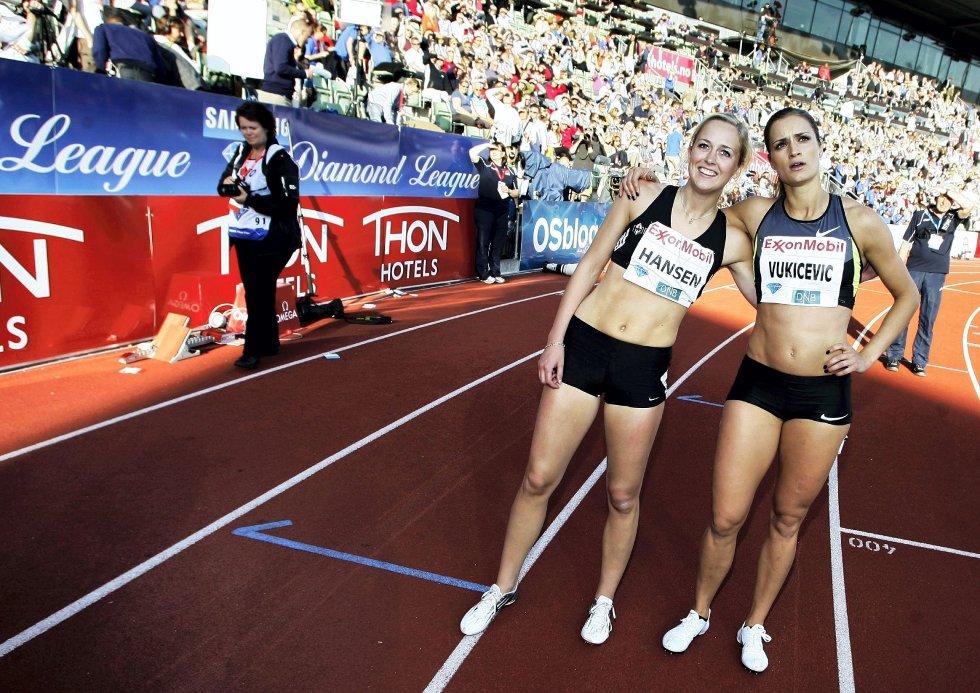 Ida Bakke Hansen og Christina Vukicevic løp i samme heat. FOTO: DIGITALSPORT