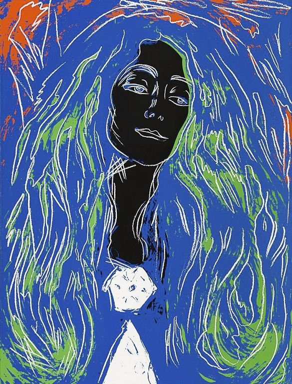 BROSJEN: «Sort Eva Mudocci» (After Munch), malt av Andy Warhol i 1984. Munchs original heter «Brosjen».