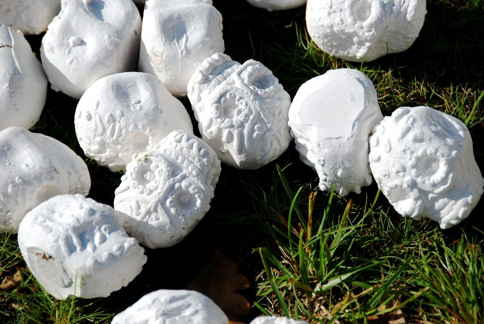 Andre besøkende fikk litt å lure på, når de fant disse forseggjorte skallene på nabograven.