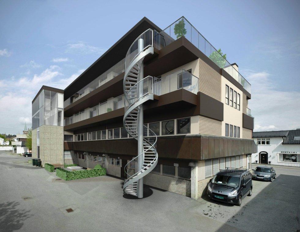Bankbygget i Storgata 92 blir seende slik ut når påbyggingen i høyden kommer på plass.
