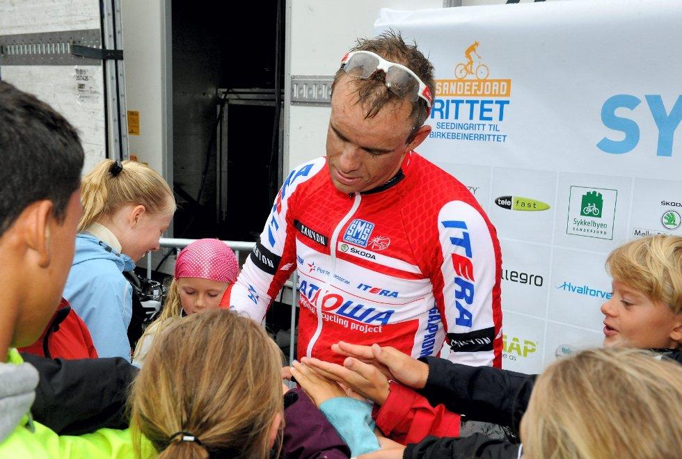 Alexander Kristoff er imponert over sykkelinteressen i Sandefjord.