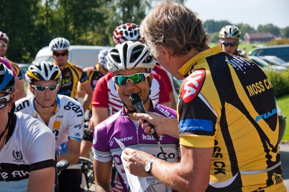 Unggutten Phan Åge Haugård var blant deltagerne søndag. Han ble kjent over natten, etter at han slo sykkelkjempen Mark Cavendish i en spurt tidligere denne uken.