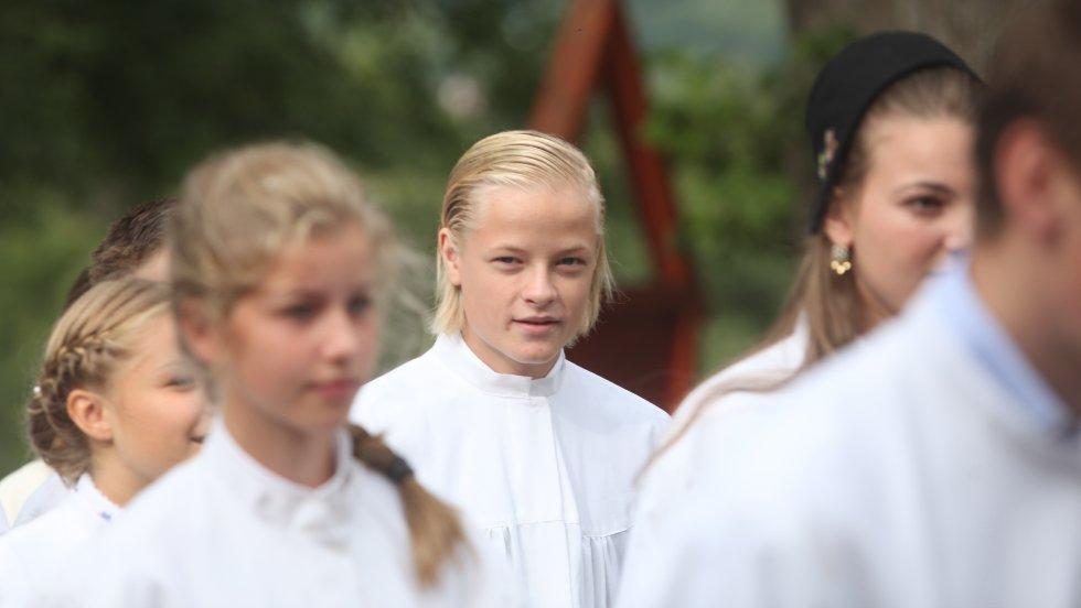 Marius Borg Høiby ble konfirmert i Asker kirke søndag.