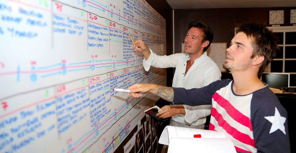 FORBEREDELSER: Ryan Wiik og Patrick Strøm jobber med Morgan Kane-manuset.