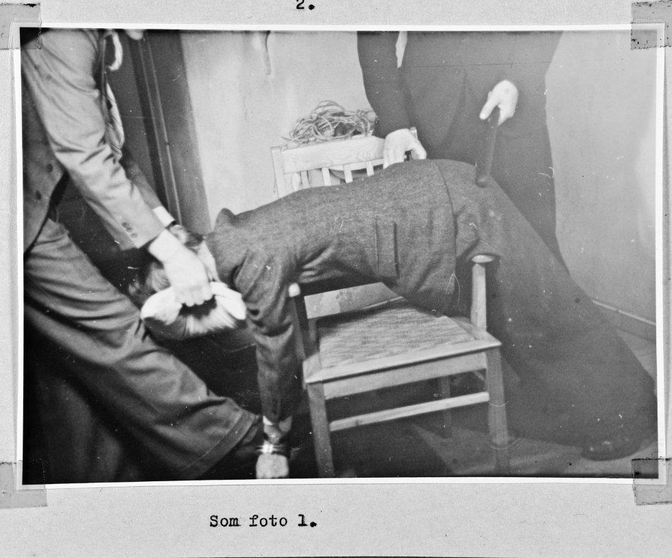Bildet er en rekonstruksjon av torturmetoder, hentet fra Riksarkivet sitt Landssvikarkivet.