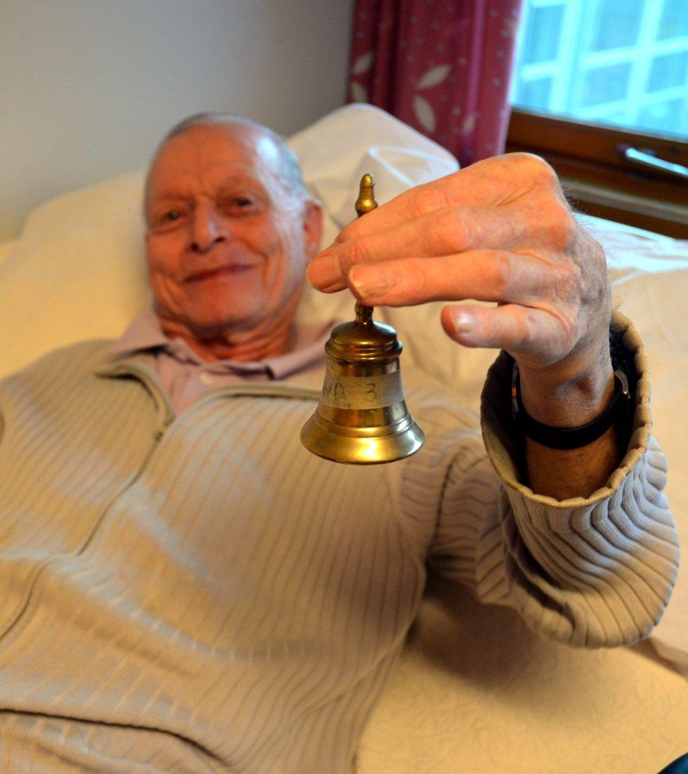 BJELLE: Alarmsystemet sviktet i mars, men Arne Magne Pedersen har bjelle på nattbordet.