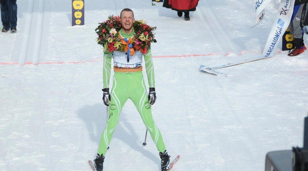 Jørgen Aukland dro til på innspurten under Vasaloppet. Bildet er fra Marcialonga-rennet tidligere i år.
