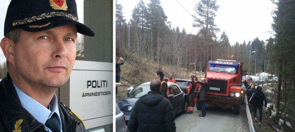 Politioverbetjent Gjermund Seter sier at årets russearrangementer på Tobonn er de første og de siste. Mandag kveld var det så å si ufremkommelig på den smale veien opp dit.