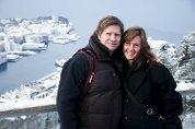 Stephanie og Rune Milne nyter vinterværet i Bergen.