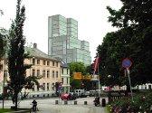 Bebyggelsesplan for Jonsvollskvartalet. Fotomontasjone som viser hvordan det vil fremtone seg i bybildet. Sett fra Den nationale Scene.
