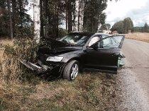 KRASJET: En Audi med en kvinnelig bilfører endte opp i dette treet på Myraveien på Tomter i Hobøl.