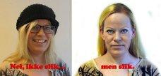 SLIK SKAL DET GJØRES: På bildet til venstre er både ansiktet og ørene dekket til, mens bildet til høyre er etter de nye reglene, med utildekket ansikt og synlige ører. (Foto Irene Sundby Nilsen)