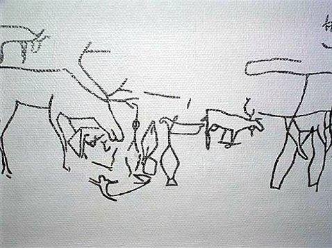 FORDOBLET: På Ofoten Museum kan en avtegning av helleristningsfeltet beskues. Nå viser det seg at antall figurer kan bli fordoblet.