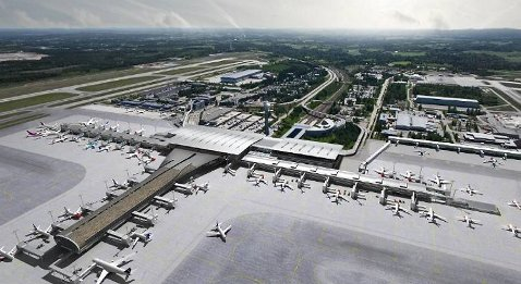 Flyplassen skal være i drift mens utbyggingen foregår. I april 2017 skal flyplassen være ferdig.