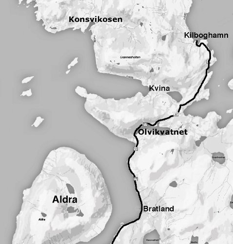 Olvikvatnet, Olvikvann, Lurøy innland