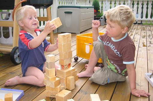 Benjamin og Andreas bygger med hjemmelagde byggeklosser.