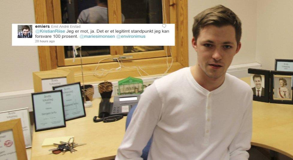 Emil Andrè Erstad er fylkesleder i ungdomspartiet til Hordaland KrF.  - Det jeg mener er at der er mer ekstremt å være for fri abort enn mot, sier han til BA.