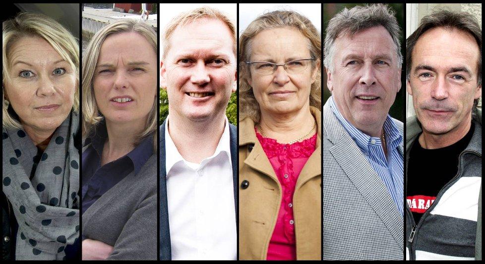 Monica Mæland (H), Mona Hellesnes (V). Harald Schjelderup (Ap), Ruth Grung (Ap), Tom Knudsen (NHO) og Roger Pilskog (LO).