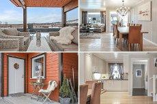 Bjørkelangen: Moderne funkisbolig i rekke. Stor takterrasse m/flott utsikt. Smart, familievennlig planløsning. Carport.