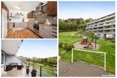 Bergen Vest-Meget pen 4-roms leilighet med sørvestvendt terrasse og garasjeplass - nytt kjøkken i 2011 - varmtvann inkl.