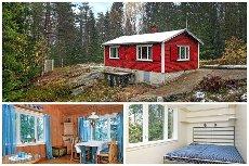 Hytte med stor, fin tomt i skogsterreng ved Lyseren.