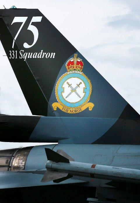 331 skvadron i Bodø fyller 75 år. F-16 er malt opp for anledningen.