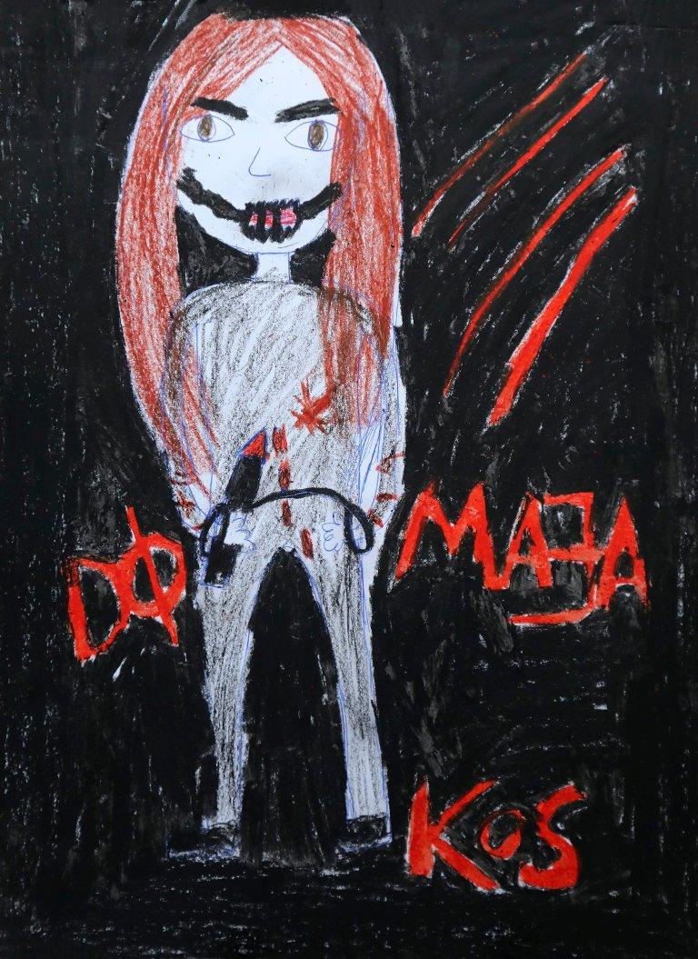 Maja er en av stemmene Mia har i hodet. Her er hennes tegning.