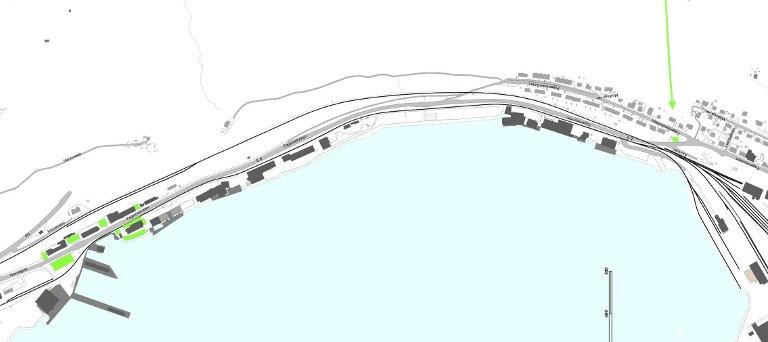 Fagernes: På Havna og Fagernes legges det etterforslaget opp til følgende nye parkeringsplasser: Ca. 100 m² v/jernbanekrysningen – område rett over inngang til Fagernesterminalen, ca. 6 biler (markert helt til høyre på kartet). Rundt tollbygget, ca. 30 plasser. Fagernesveien Verktøy og maskin, ca. 5 plasser,