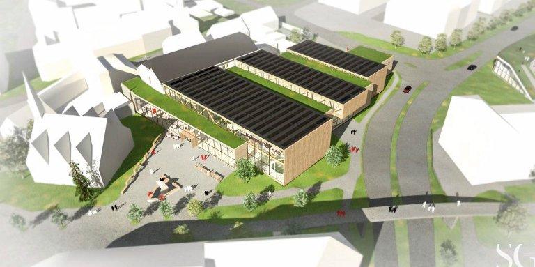 HALLEN: Slik ser SG Arkitekter for seg hvordan den nye svømmehallen kan bli. Den katolske kirken er nærmeste nabo.