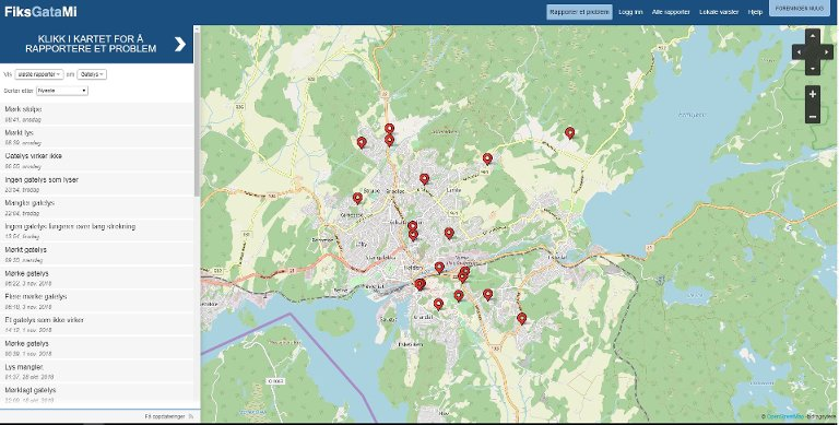OVERSIKT: På www.fiksgatami.no er det oversikt over uløste saker i Halden når det gjelder gatelys.