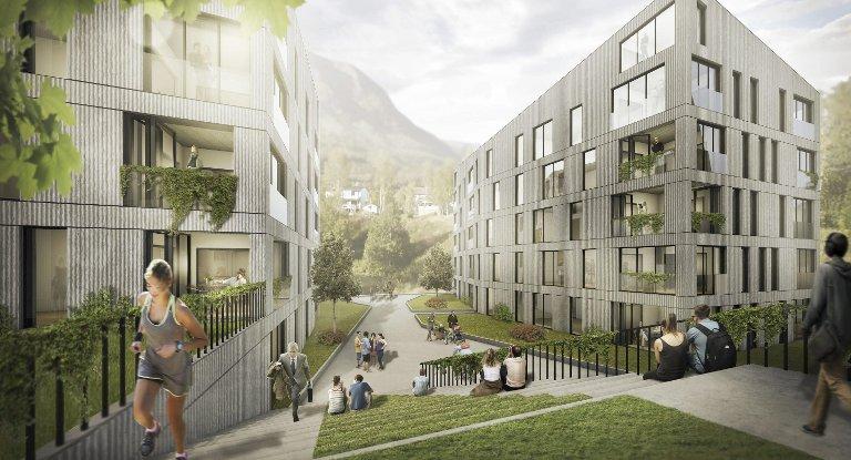 Fire boligblokker: Til samme fire bygg som kan romme til sammen over 100 leiligheter ligger i arkitektens forslag. Nå ønsker Bjerkvik Eiendom å starte på et planarbeid for å utvikle tomta. Ill: AMB arkitekter AS