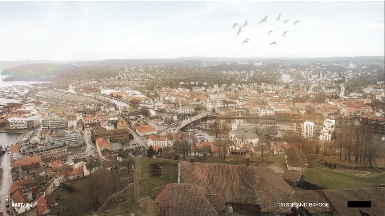 FRA FESTNINGEN: Bildet viser hvordan Østbys planer vil se ut fra klokketårnet. Leilighetskomplekset ses til høyre i bildet.