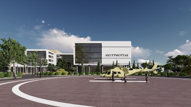 Slik er helikopterlandingsplassen lagt i forhold til et mulig sykehus på Leines i Leirfjord.