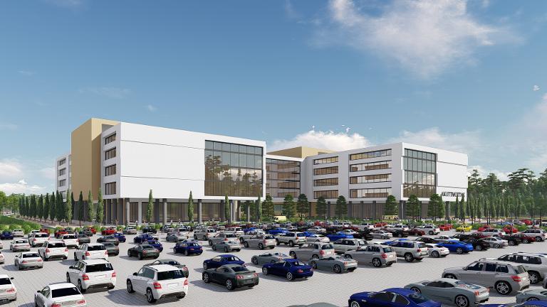 Det er tegnet inn 1.500 parkeringsplasser, både til pasienter, besøkende og ansatte.